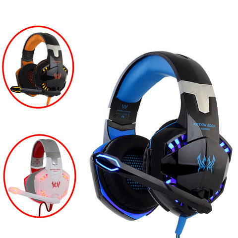 Gaming Headset For PS4, PC Computer with Microphone LED Light Deep Bass Gamer Headphones