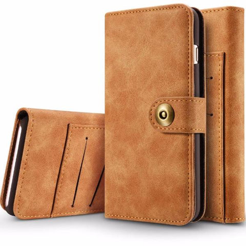 2 in 1 PU Leather Flip Wallet Phone Case For Samsung Galaxy