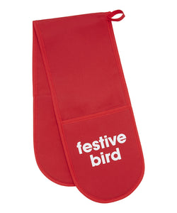 festive bird oven gloves