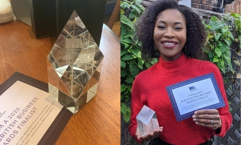 collage of the BBB award award and Rachael Corson holding it