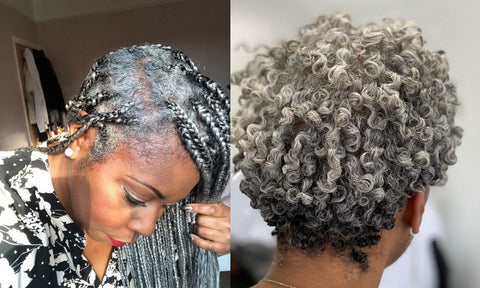Grey haired woman with box braids and the back view of afro grey hair