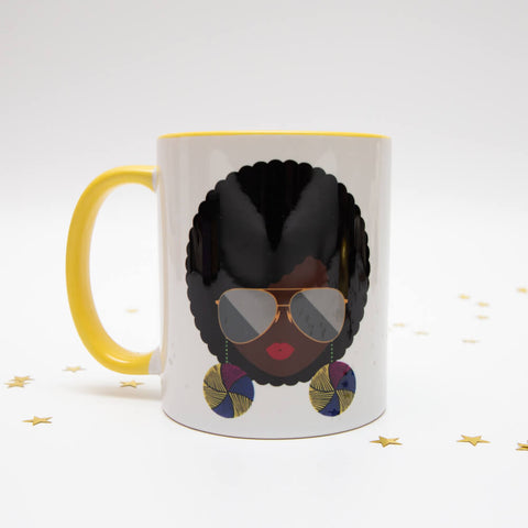 AfroTouch Design mug with cute design and yellow handle