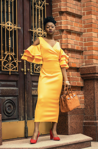 Afrocenchix Wedding Hairstyles for Natural Hair Pexels Black woman in formal yellow dress