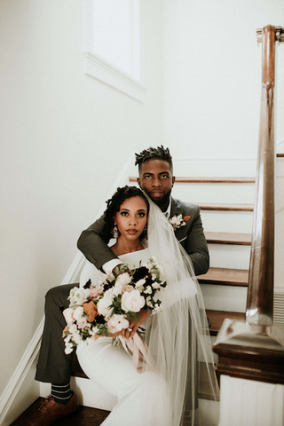 Afrocenchix Wedding Hairstyles for Natural Hair Pexels Young black couple at their wedding sitting on the stairs