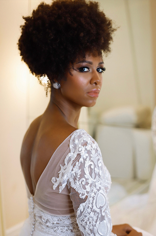 Afrocenchix Wedding Hairstyles for Natural Hair Pexels black woman in wedding  dress looking over her shoulder with afro puff hairstyle