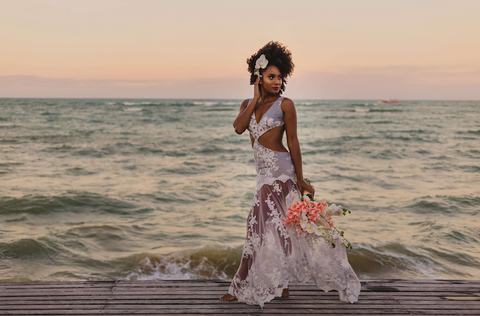 Afrocenchix Wedding Hairstyles for Natural Hair Pexels black woman in wedding dress on the beach