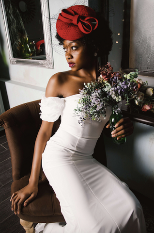Afrocenchix Wedding Hairstyles for Natural Hair Pexels black woman with red hat in a wedding dress