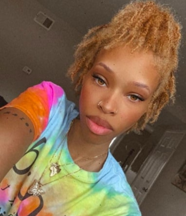 Afrocenchix different stages of locs: Black woman with short blonde, budding stage of locs from Instagram @baddgaldri