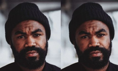 collage of black man with bushy beard and beanie hat