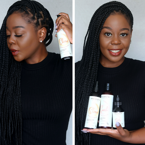 Chuma Soko collage with protective box braids and Afrocenchix Products