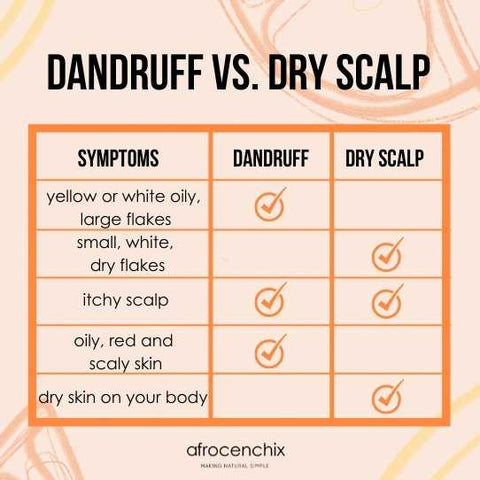 Dandruff vs. Dry Scalp What's the difference: Afrocenchix Article Table