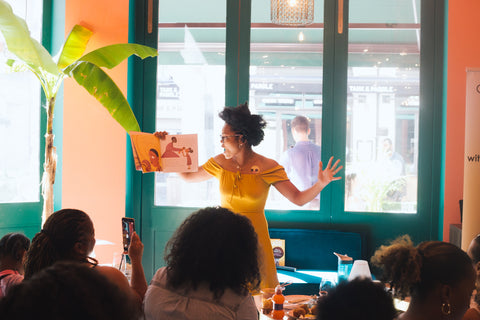 Author Hannah Lee during book reading of My Hair book