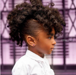 back to school hairstyles: young black girl with cute afro frohawk