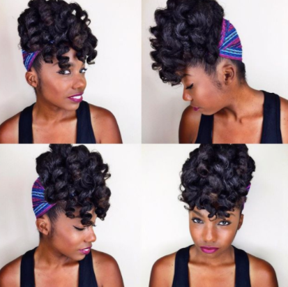 A collage of a black woman with a twisted updo and headscarf