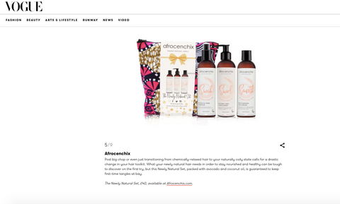 Screen shot of Afrocenchix products in Vogue Feature