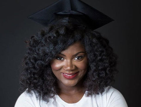 natural hair in graduation cap