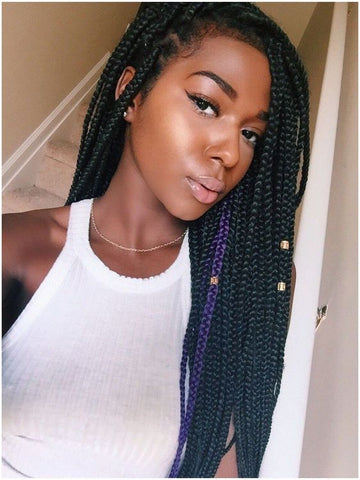 Festival box braids with gold cuffs