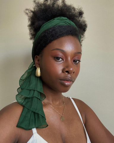 Pineapple updo with green headscarf Prom Hairstyles for Black Girls Afrocenchix
