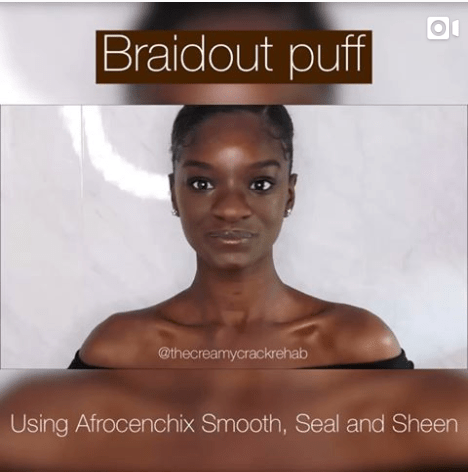 braid out puff afro hairstyle for black women
