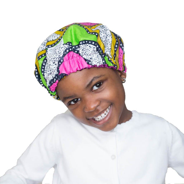 Mummy & Me Satin Lined African Print Bonnet Set (Limited Edition)