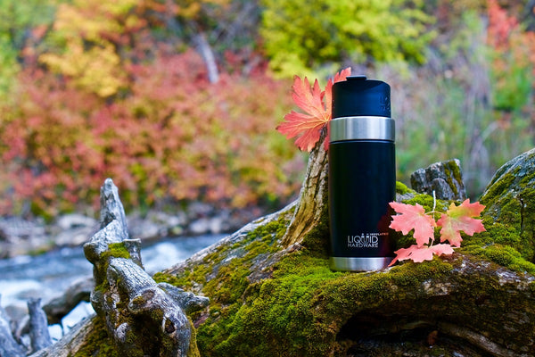 vacuum insulated Aurora coffee mug sitting on forest moss by Liquid Hardware