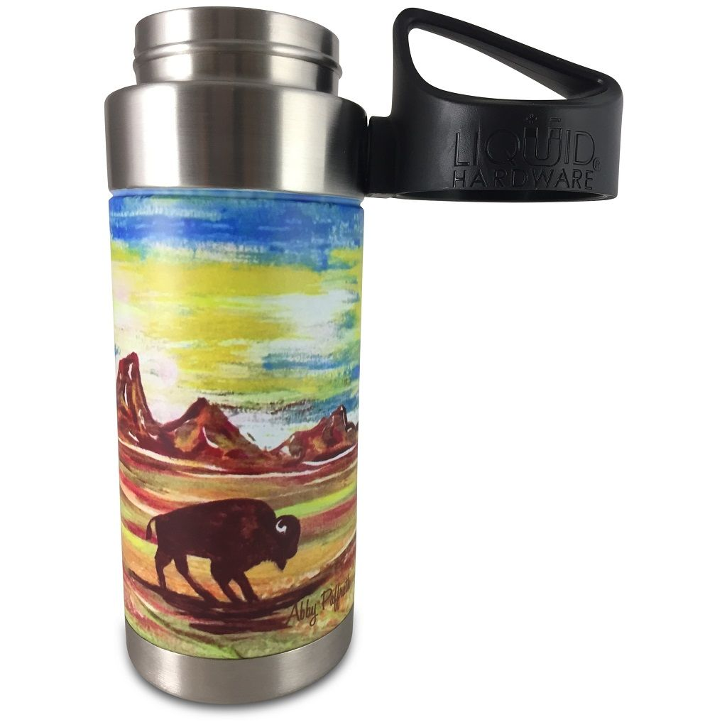 Vacuum Insulated Water Bottle - Artist Series by Abby Paffrath - totanka lid off