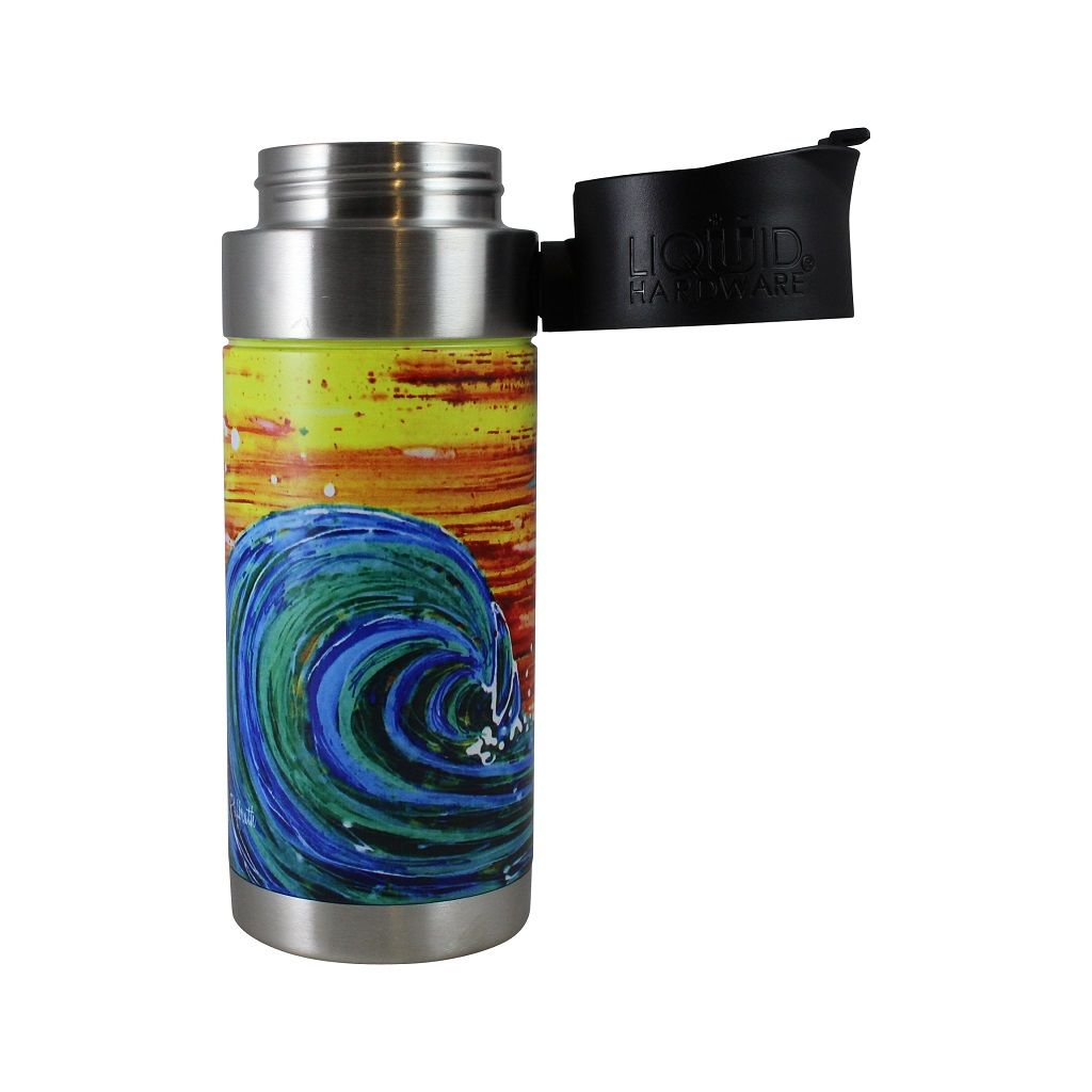 insulated coffee mug - abby paffrath sunset surf lid off