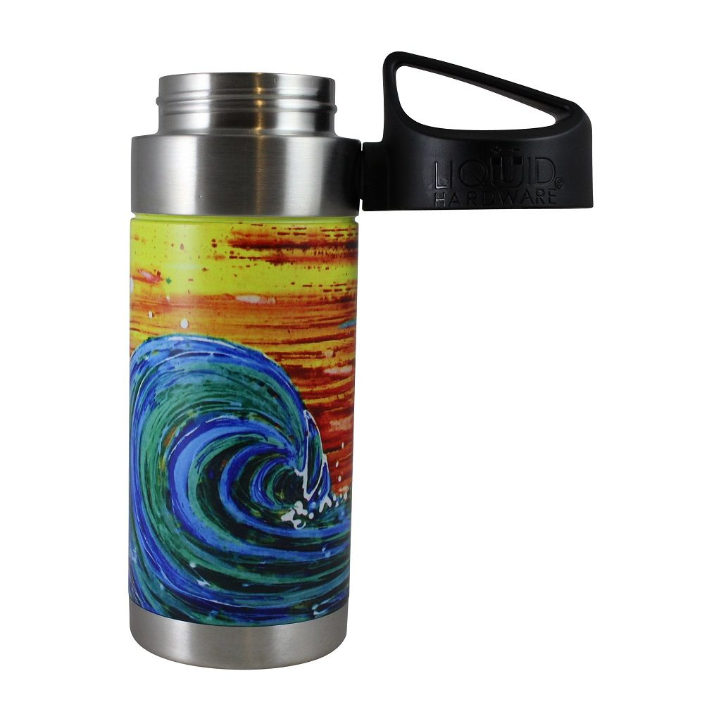 Vacuum Insulated Water Bottle - Artist Series by Abby Paffrath - sunset surf lid off