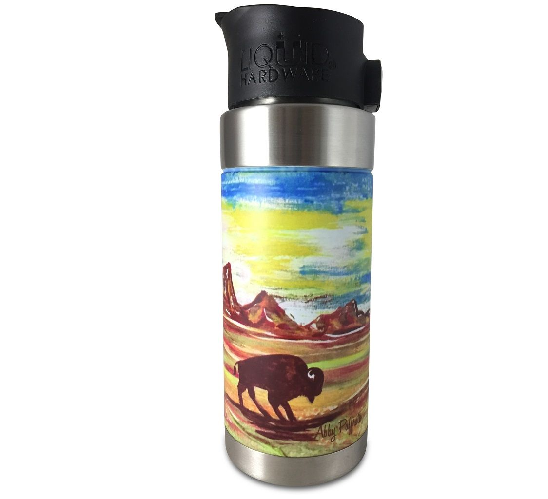 insulated coffee mug - abby paffrath colorful totanka