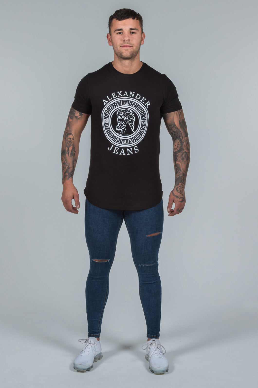 Super Skinny Spray on Jeans – Dark Blue Ripped