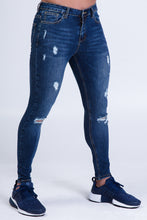 Load image into Gallery viewer, Alexander Jeans Dark Blue Ripped & Repaired Super Stretch Denim Jeans