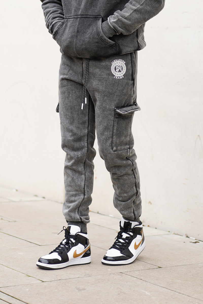 Dark Grey Acid Wash Joggers