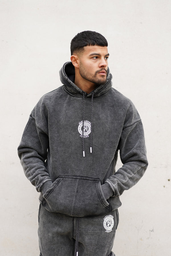 Dark Grey Acid Wash Hoodie