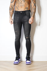 Super Skinny Spray on Jeans – Charcoal Distressed Stripe
