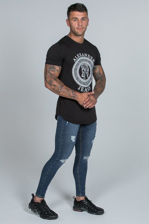 Super Skinny Spray on Jeans – Dark Blue Ripped & Repaired