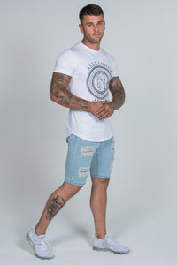 Spray On Denim Shorts – Light Blue Ripped & Repaired