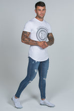 Load image into Gallery viewer, Super Skinny Spray on Jeans – Blue Ripped & Repaired