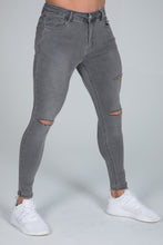 Load image into Gallery viewer, Super Skinny Spray on Jeans – Grey Ripped