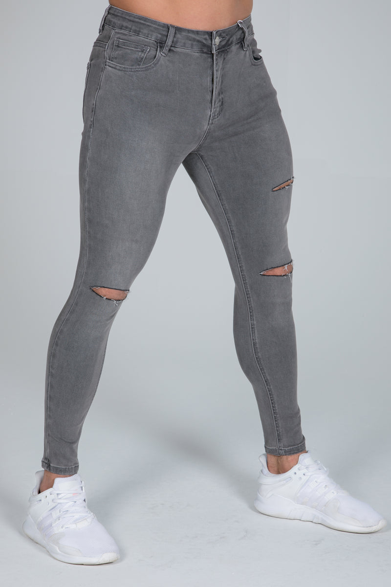 Super Skinny Spray on Jeans – Grey Ripped