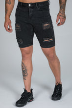 Load image into Gallery viewer, Spray On Denim Shorts – Charcoal Ripped & Repaired