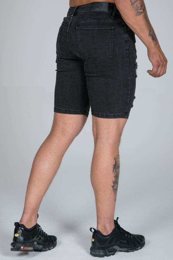 Spray On Denim Shorts – Charcoal Ripped & Repaired