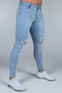 Super Skinny Spray on Jeans – Light Blue Distressed Knee