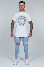 Load image into Gallery viewer, Super Skinny Spray on Jeans – Light Blue Distressed Knee