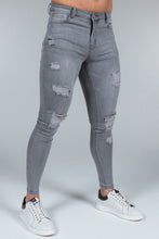 Load image into Gallery viewer, Super Skinny Spray on Jeans – Light Grey Distressed