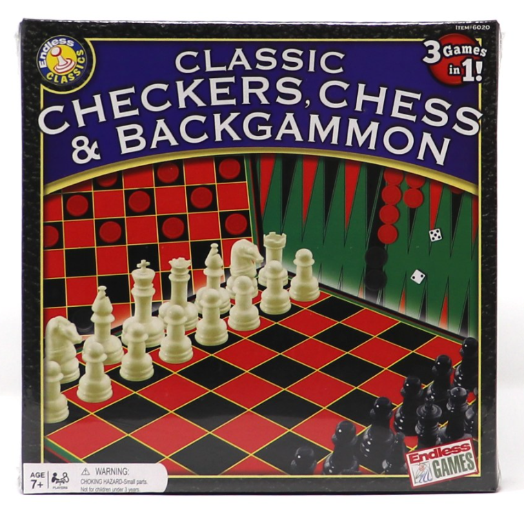Classic Checkers, Chess, and Backgammon - 3 Games in 1!
