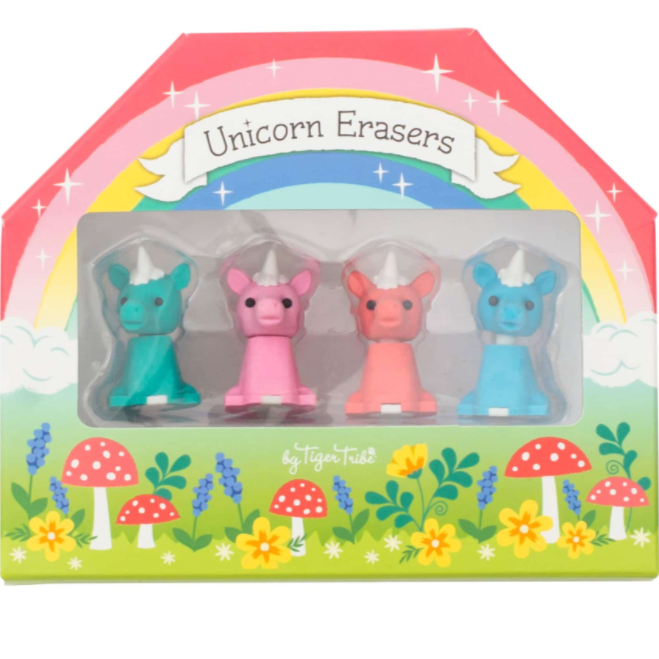 4 amazing unicorn erasers in a rainbow box