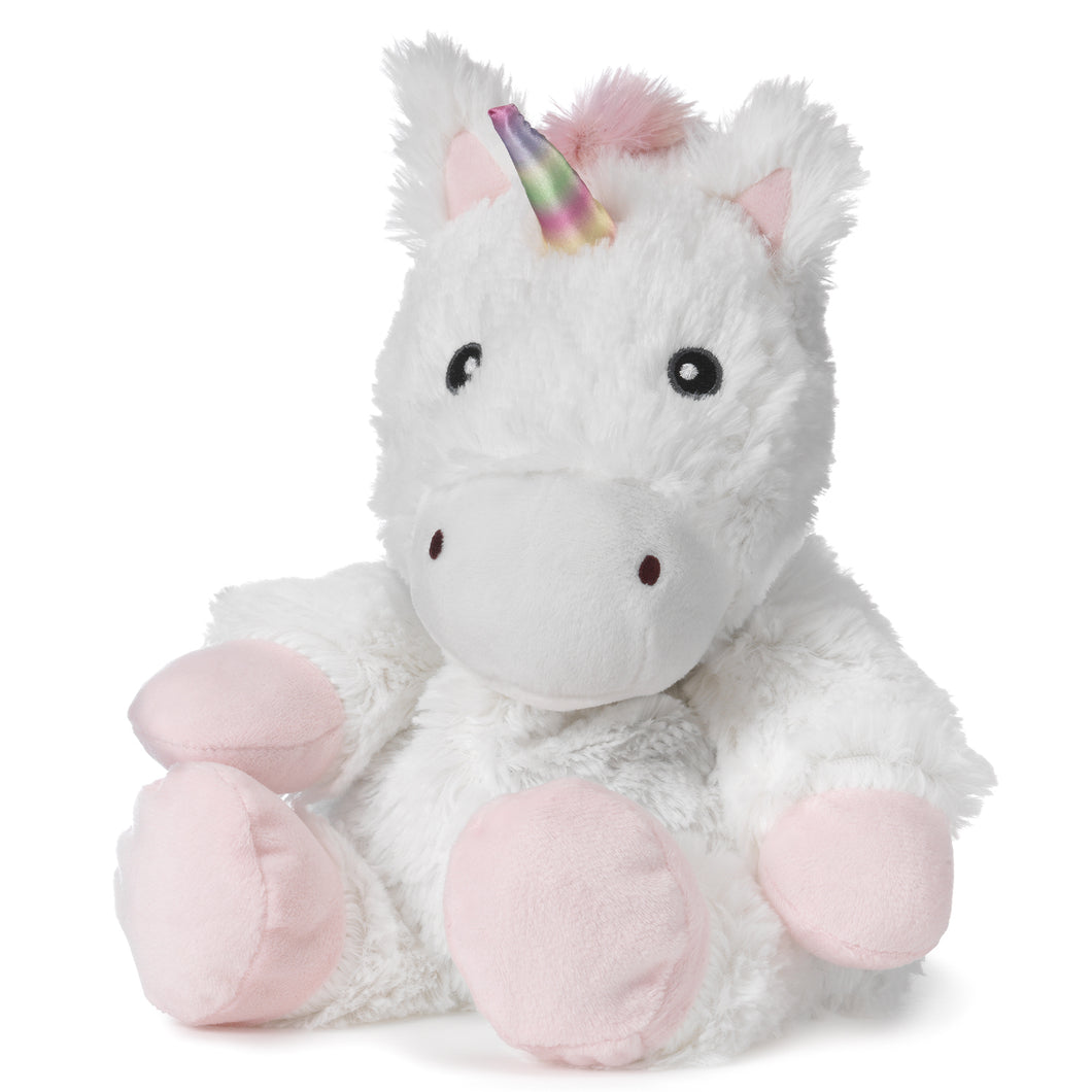 white unicorn warmies junior, 10 inches