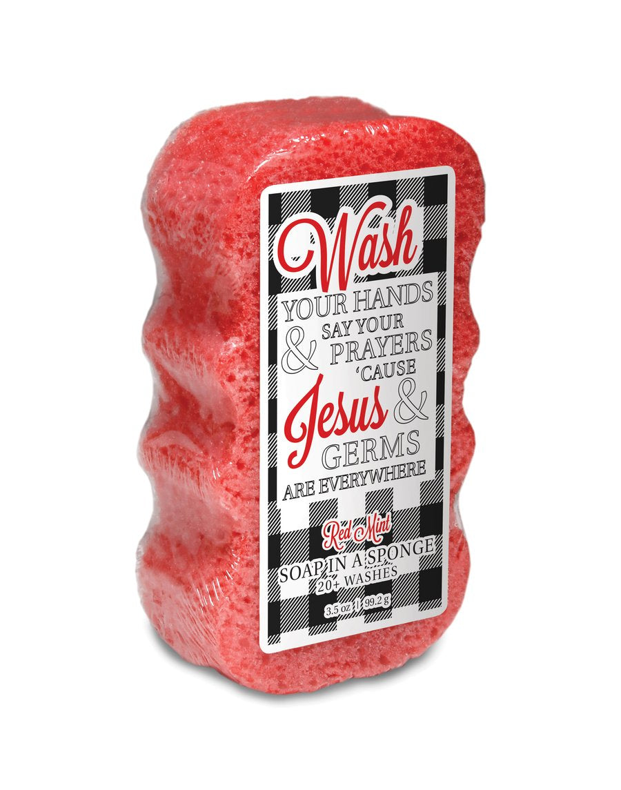 Caren Soap Sponge - Wash Your Hands Jesus & Germs Are Everywhere