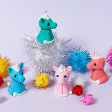 Load image into Gallery viewer, silly unicorn erasers on pom poms