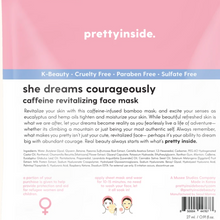 Load image into Gallery viewer, back of she dreams courageously face mask for caffeine